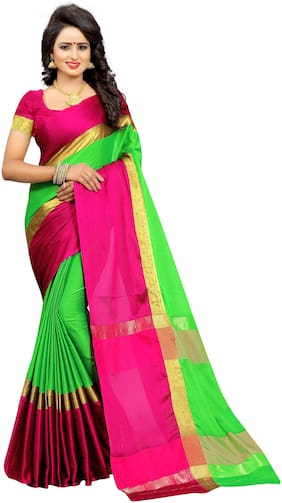RK Fashion Cotton Universal Lace work Saree - Multi , With blouse