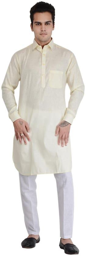 RKZONE Women Regular Fit Cotton Full Sleeves Solid Kurta Pyjama - Yellow