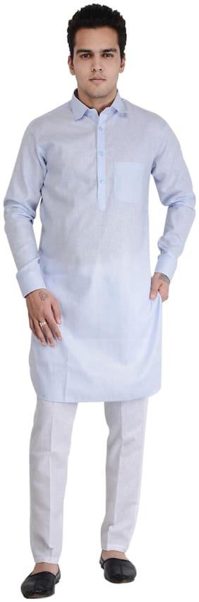 RKZONE Women Regular Fit Cotton Full Sleeves Solid Kurta Pyjama - Blue