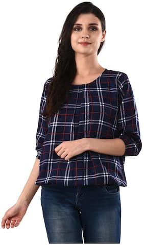 RNU Creations Women Crepe Checked - Regular top Blue