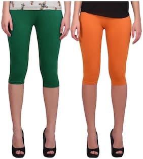 Robinbosky Women Solid Regular capri - Green & Orange