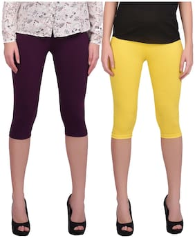 Robinbosky Women Solid Regular capri - Yellow & Black
