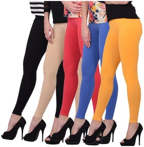 Robinbosky Cotton Solid Multi Color Ankle Leggings For Women Pack Of 5
