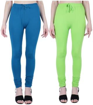 Robinbosky Women Churidar Leggings Blue And Green Value Combo Pack Of 2 (S;057 Atlantic Deep And 059 Green Flash)
