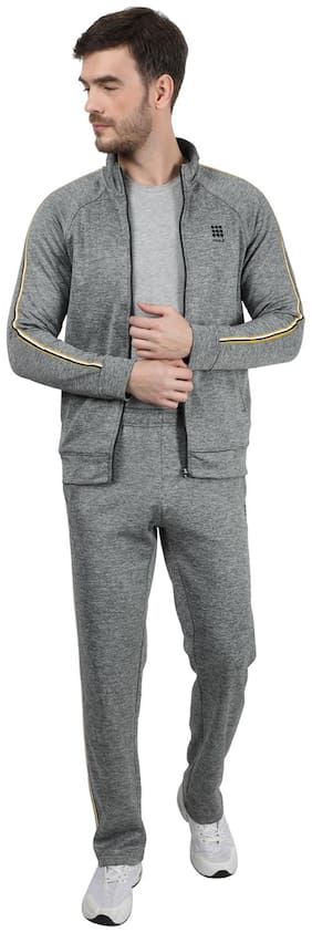ROCK.IT Men Grey Solid Regular Fit Track Suit