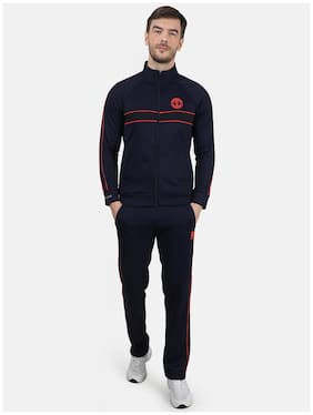 ROCK.IT Men Navy Blue Solid Regular Fit Track Suit