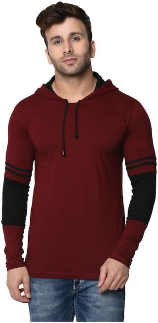 Rockhard Men Maroon Regular fit Cotton Hood T-Shirt - Pack Of 1