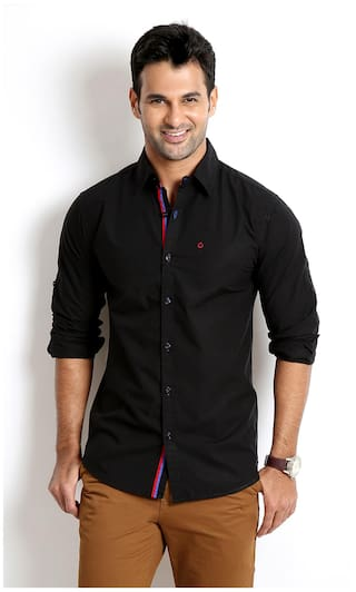 90d9f63d Buy Rodid Black Cotton Slim Fit Casual Shirt Online at Low Prices in ...