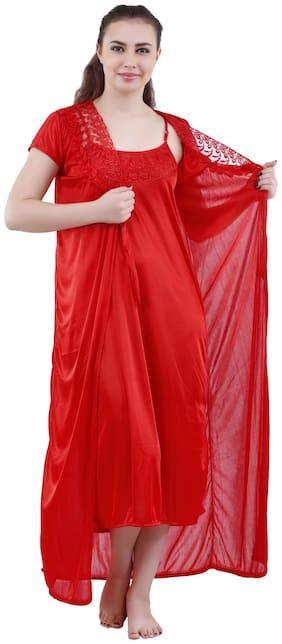 Romaisa Women'S Satin Nightwear (Set Of 2 pcs_Nighty With Robe)