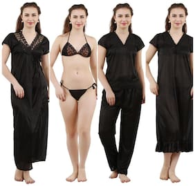 Romaisa Women'S Satin Nightwear Set Of 6 pcs Nighty, Wrap Gown, Top, Pyjama, Bra & Thong