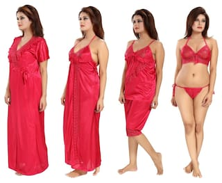 81c86bf2420 Romaisa Women s Satin Nightwear Set of 6 Pcs Nighty Wrap Gown Top Capri