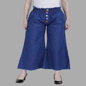 Romile Blue Solid Wide Leg Palazzo