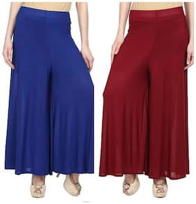 ROOLIUMS   (Brand Factory Outlet) Women's Premium Trendy and Stylish, Soft Malai Lycra Palazzo With Inner Pack Of 2