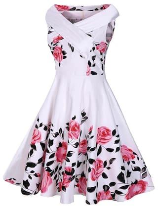 Rose Print 50s Sleeveless Dress