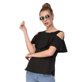 Rosella Black Crepe Cold Shoulder Top