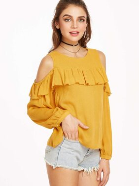 Rosella Mustterd Cold Shoulder Ruffled Top