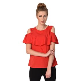 Rosella Red Crepe Cold Shoulder Top