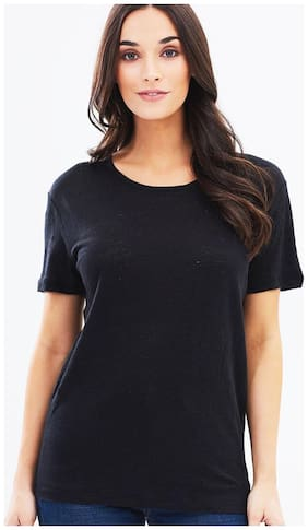 Round Neck Black Half Sleeve Tshirt For Women's