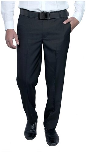 Routeen Black Polyester And Viscose Formal Slim Fit Trouser