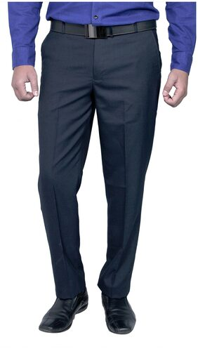 Routeen Blue Polyester And Viscose Formal Slim Fit Trouser