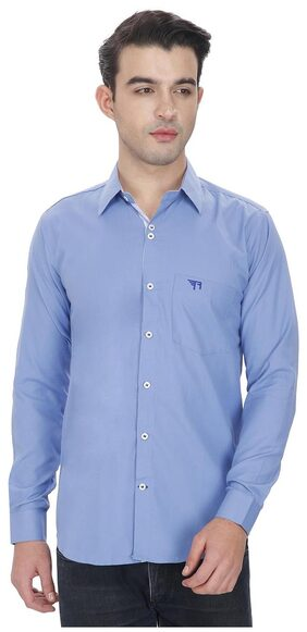 Routeen Men Slim Fit Casual shirt - Blue