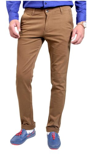 Routeen Brown Cotton Slim Fit Casual Trouser