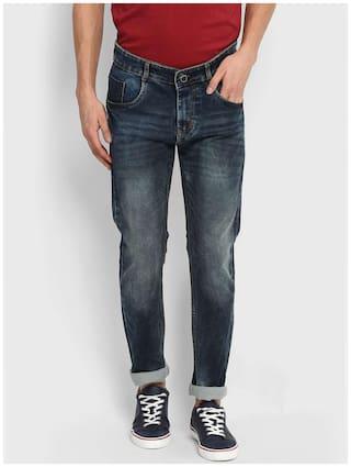 Routeen Men's Indigo Blue Cotton Spandex Jeans