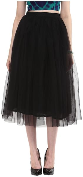 Roving Mode Solid A-line skirt Midi Skirt - Black