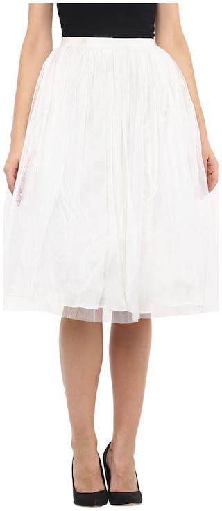 Roving Mode Solid A-line skirt Midi Skirt - White