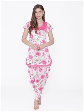 ROWENA Women Satin Floral Top and Pyjama Set - Pink