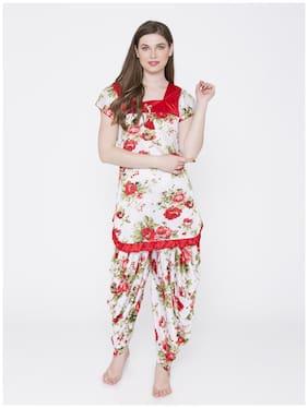 ROWENA Women Satin Floral Top and Pyjama Set - Red