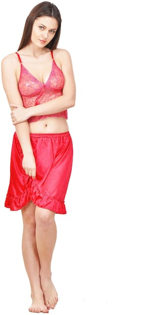 ROWENA Women Satin Solid Top and pyjama set - Pink