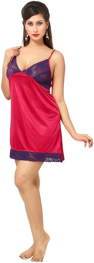 Rowena Solid Pink Satin Babydoll Dress