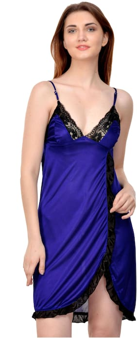 Rowena Solid Blue Satin Babydoll Dress