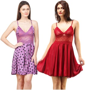Rowena Solid Satin Multicolor Babydoll Dress - Pack of 2