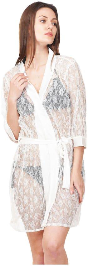Rowena Solid Net White Babydoll Dress