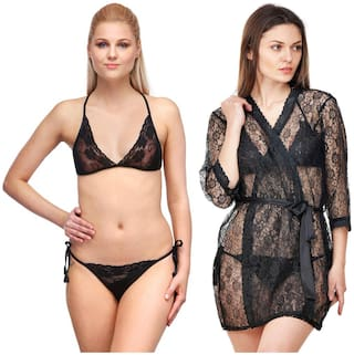 Rowena Solid Satin Lace Black Pack of 2