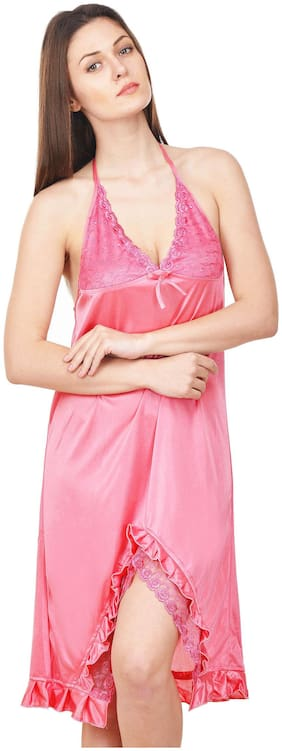 Rowena Solid Satin Pink Babydoll Dress Pack of 1
