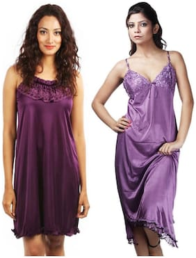 Rowena Solid Satin Multicolor Babydoll Dress Pack of 2