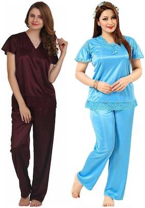 ROWENA Women Satin Solid Top and Pyjama Set - Multi
