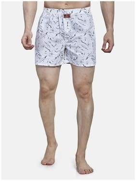 Roxton Printed Boxers - White ,Pack Of 1