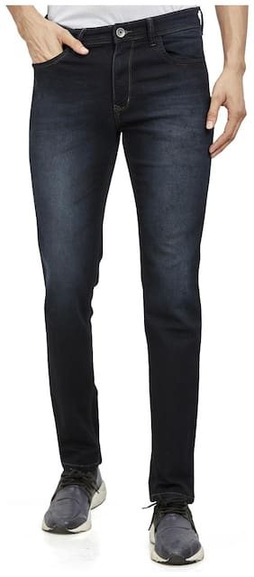 Roxton Men Navy Blue Tapered Fit Jeans