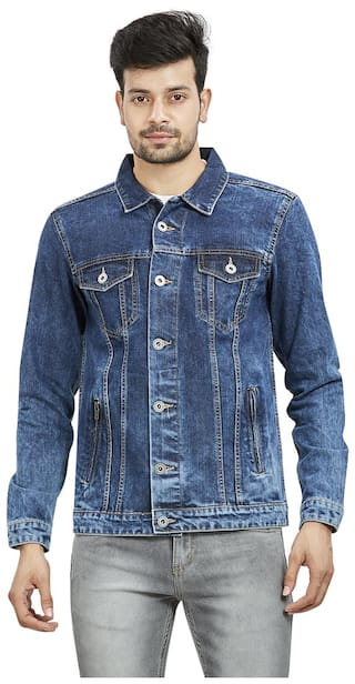 Roxton Men Navy blue Solid Denim jacket