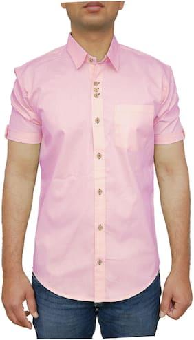 ROYAL ATTIRE Men Pink Solid Slim Fit Casual Shirt