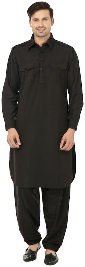 Royal Black Cotton Blend Pathan Suit For Men