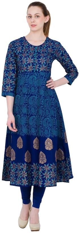 Zoeyams Women Blue Printed Anarkali Kurta With Churidar