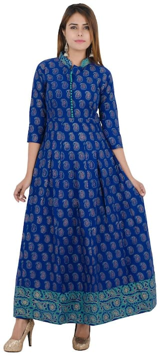 Zoeyam's Women Blue Printed Anarkali Kurta