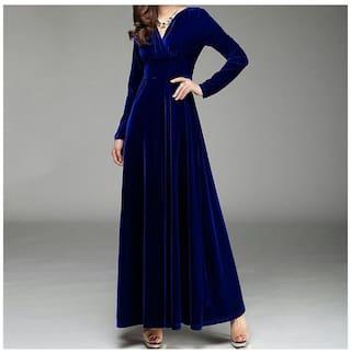 Royal Blue Velvet V-Neck Long Dress