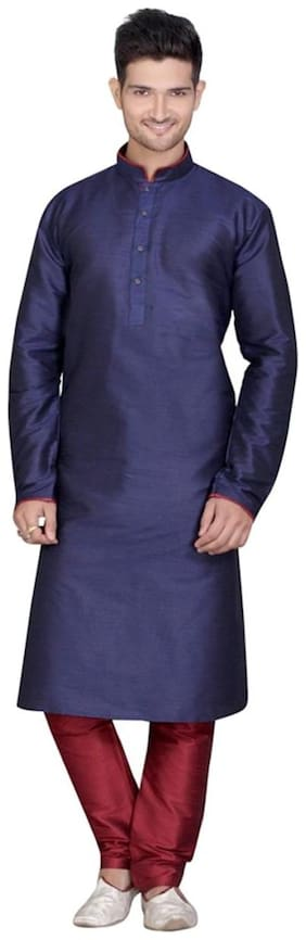 Royal Kurta Men Regular Fit Silk Full Sleeves Solid Kurta Pyjama - Blue