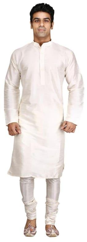 Royal Kurta Men Regular Fit Rayon Full Sleeves Solid Kurta Pyjama - White